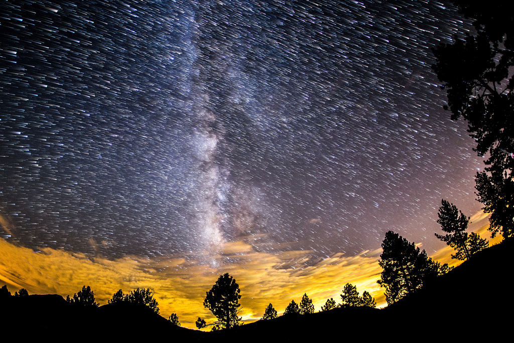Image: Raining Stars. Milky Way and star trails at Cuyamaca Rancho State Park. | by slworking2