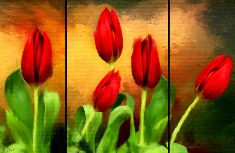 Image: Red Tulips Triptych by Lourry Legarde